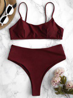 ZAFUL High Waisted High Leg Bikini Set - Red Wine M