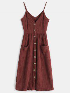 Cami Button Through Woven Midi Dress - Maroon M