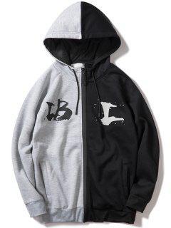 Contrast Letter Zipper Fleece Hoodie - Gray L