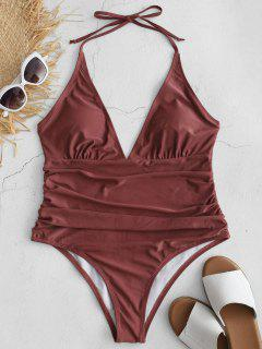ZAFUL Ruched Halter One Piece Swimsuit - Rosy Finch S