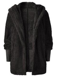 Oversize Open Front Furry Coat - Black M