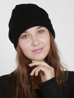 Solid Color Hollow Out Beanie - Black