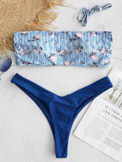 ZAFUL - Gestreiftes, Hoch Geschnittenes Bikini-Set Mit Blumenmuster - Azurblau L