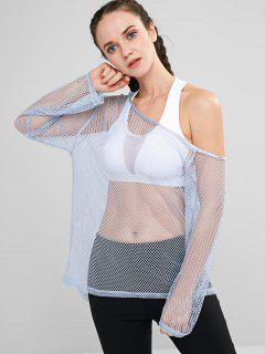 ZAFUL Fishnet Skew Neck T-shirt - Pastel Blue L