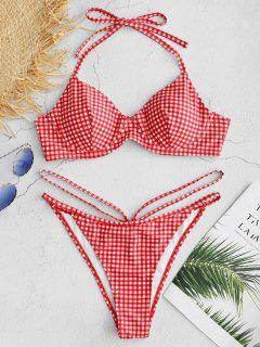 ZAFUL Gingham Underwire Bikini Set - Multi M