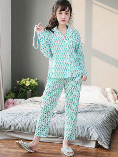 Cute Animal Print Pajamas Set - White M