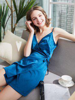 Wrap Tie Up Satin Mini Slip Dress - Peacock Blue L