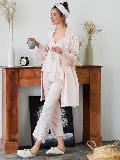 Belted Lace Panel Pajamas Set - Light Pink L