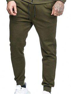 Pantalon Jogging De Sport Avec Poches Latérales De Couleur Unie  - Vert Armée L