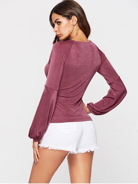 sale ZAFUL  Long Sleeve Shimmer T-Shirt - BASHFUL PINK M Mobile
