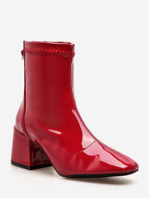 ladies Zip Back Chunky Heel Ankle Boots - CHESTNUT RED EU 36 Mobile