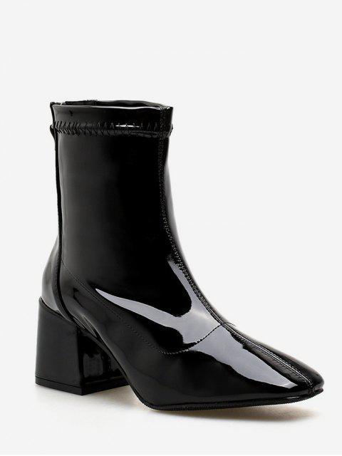 shop Zip Back Chunky Heel Ankle Boots - BLACK EU 39 Mobile