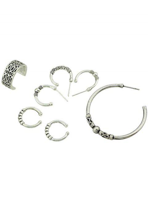 Simple Style Finger Cuff Rings Set - Plata  Mobile