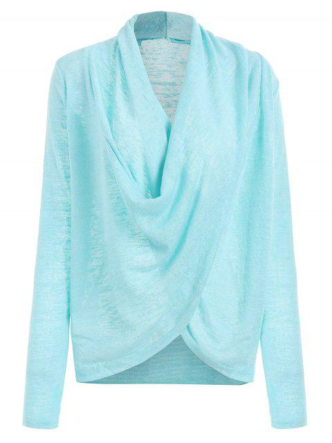 Cross Drape Wrap Sweater - Azure L Mobile