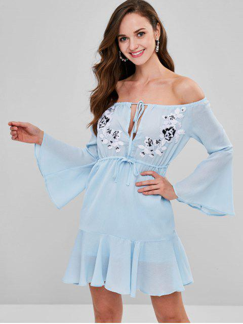 chic Applique Drawstring Off The Shoulder Dress - ROBIN EGG BLUE L Mobile