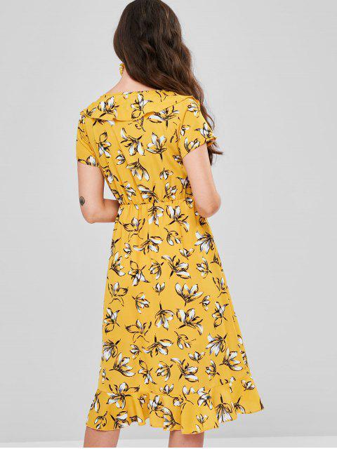 Vestido de sobrepelliz flounced floral - Amarillo M Mobile