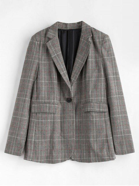 Plaid Flap Taschen Blazer - Multi M Mobile