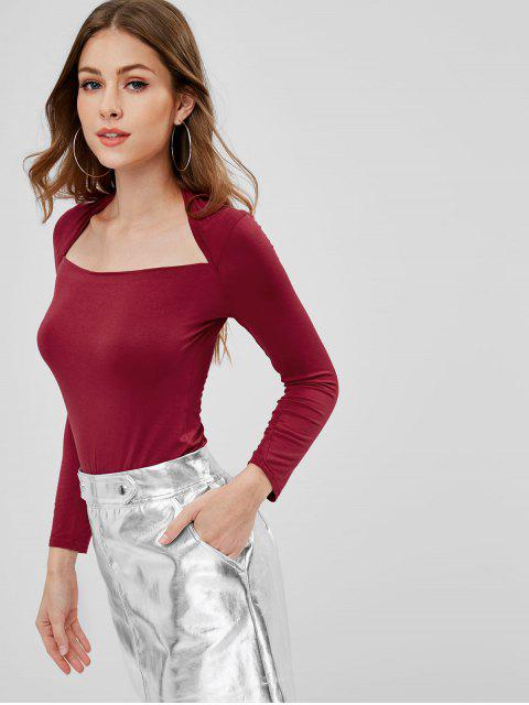 fancy Long Sleeve Boat Neck Slim T-shirt - RED WINE ONE SIZE Mobile