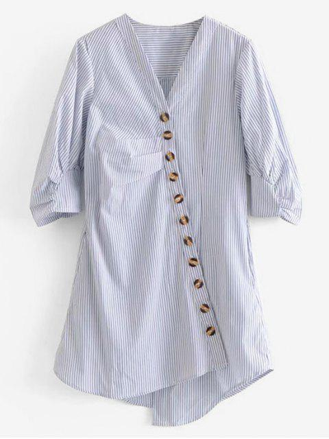chic Oblique Button Striped Blouse - MULTI S Mobile