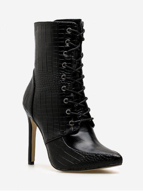women Crocodile Print Stiletto Heel Short Boots - BLACK EU 37 Mobile