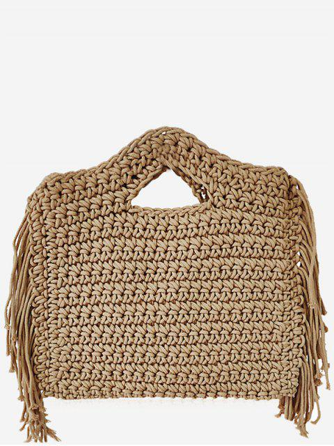shop Mini Braided Straw Tassels Sling Bag - CAMEL BROWN  Mobile