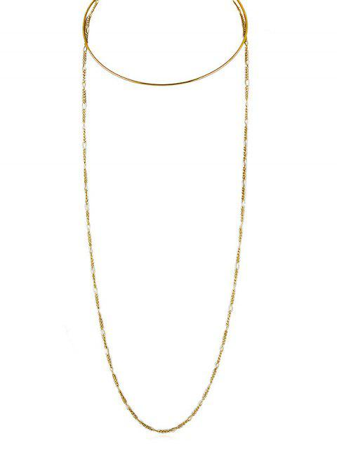 Einfache Schicht Kette Halskette - Gold  Mobile