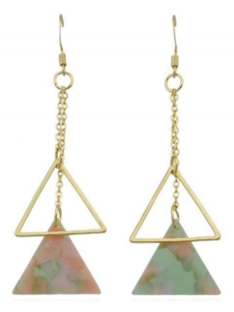 Doble triángulo largo cuelga los pendientes - Multicolor-A  Mobile