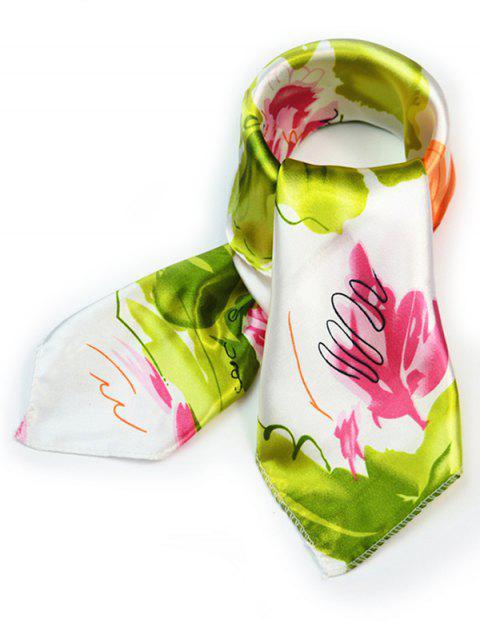trendy Flourishing Floral Silky Handkerchief - GREEN PEAS  Mobile