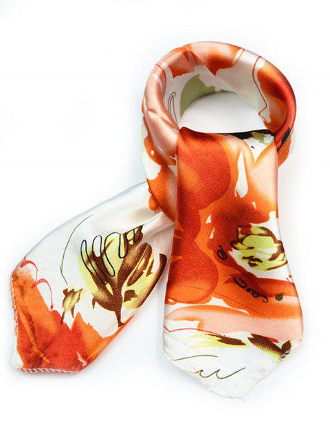 fashion Flourishing Floral Silky Handkerchief - PUMPKIN ORANGE  Mobile
