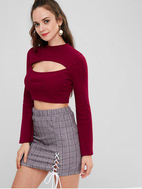 unique Bell Sleeve Ribbed Cutout T-shirt - RED WINE L Mobile