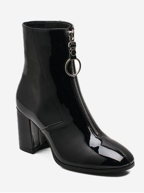 best Chunky Heel Zip Front Short Boots - BLACK EU 36 Mobile