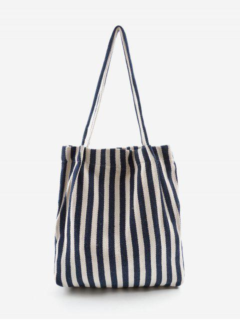 outfit Vertical Striped Large Capacity Shoulder Bag - EARTH BLUE  Mobile