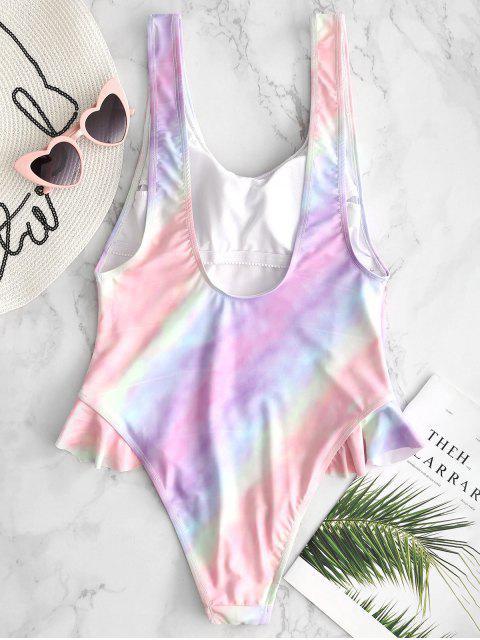 ladies Tie Dye High Cut Ruffle Swimsuit - MULTI S Mobile