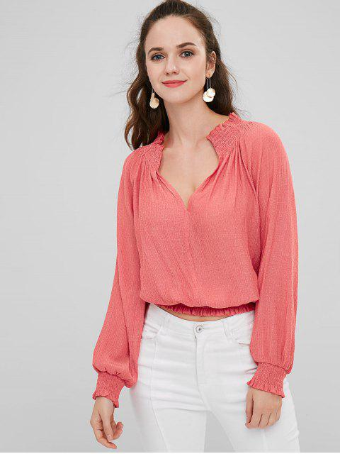 ladies ZAFUL V Neck Smocked Cropped Top - WATERMELON PINK M Mobile