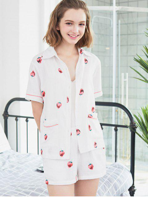 latest Strawberry Short Sleeve Shirt and Shorts - WHITE L Mobile