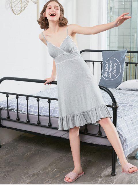 fancy Lace Hem Cami Nightdress - LIGHT GRAY L Mobile