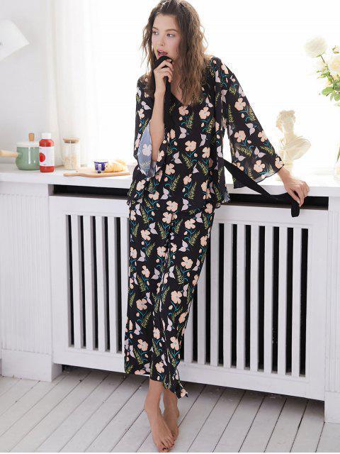 Pyjama Floral Sans Dos avec Robe - Noir L Mobile