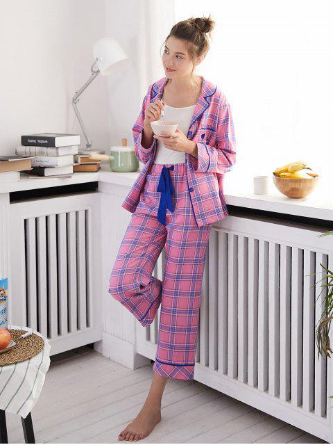 shops Long Sleeve Checked Pajama Set - PINK XL Mobile