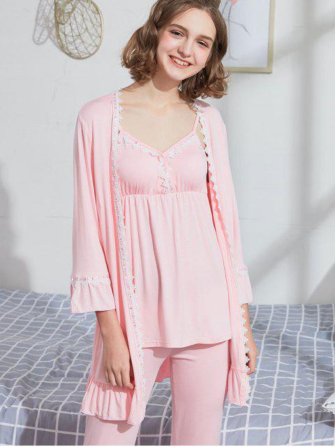women Padded Cami Top Pants Robe Matching Pajama Set - PINK L Mobile