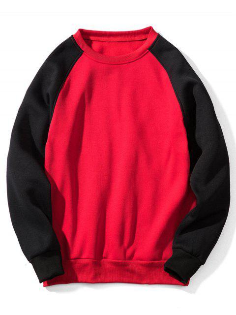 Sweat-shirt Contrasté à Manches Raglan en Toison - 红色 XL Mobile
