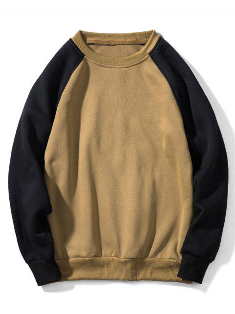 Sweat-shirt Contrasté à Manches Raglan en Toison - Kaki Léger 2XL Mobile
