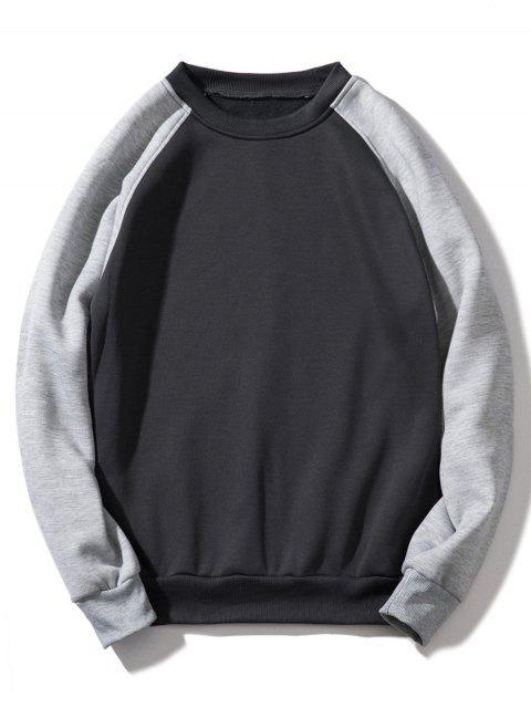 Sweat-shirt Contrasté à Manches Raglan en Toison - Gris Foncé XL Mobile