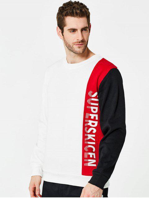 Sweat-shirt Lettre Patchwork Contrasté en Toison - 红色 XL Mobile