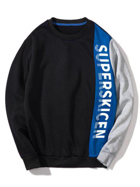 Sweat-shirt Lettre Patchwork Contrasté en Toison - Bleu L Mobile