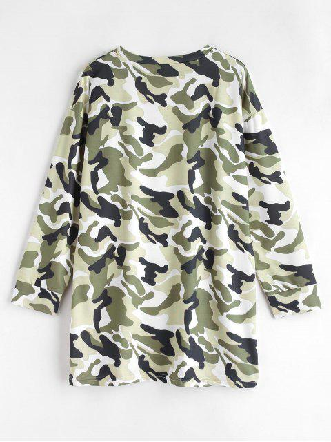 outfits Long Sleeve Camouflage Tee Dress - MULTI S Mobile