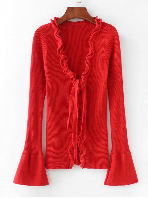 Ribbed Rüschen Sweater - Rot Eine Größe Mobile