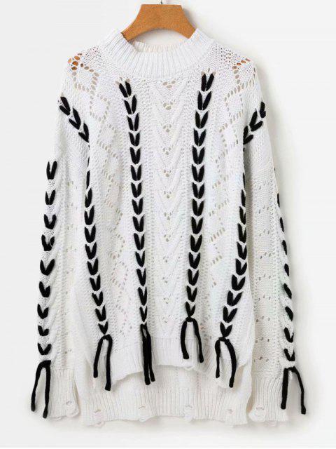 Pullover mit farblich abgesetztem Rundhalsausschnitt - Weiß Eine Größe Mobile