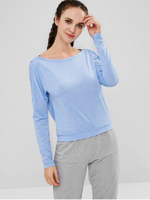 ZAFUL Heather T-Shirt mit offenem Rücken - Schmetterling Blau M Mobile