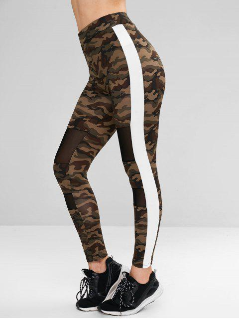 women Camo Mesh Panel Contrast Side Leggings - MULTI S Mobile