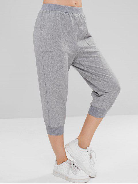 ZAFUL Heather Pocket Crop Jogger Pantalon - Nuage Gris L Mobile